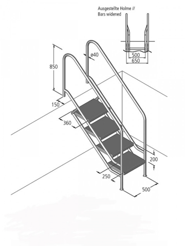 Ideal Treppe Miami Modell 08.1 ABS-Stufen, 4-stufig